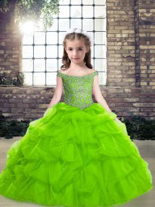 Ball Gowns Pageant Dresses Off The Shoulder Organza Sleeveless Floor Length Lace Up