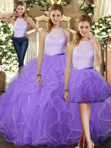 Dynamic Lavender Three Pieces Tulle High-neck Sleeveless Ruffles Floor Length Backless Quinceanera Gown