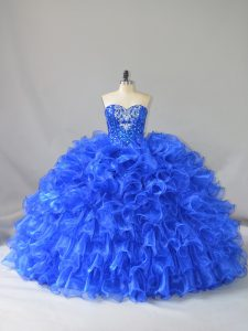 Gorgeous Royal Blue Quinceanera Gowns Sweet 16 and Quinceanera with Ruffles and Sequins Sweetheart Sleeveless Lace Up
