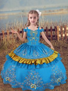 Super Off The Shoulder Sleeveless Lace Up Little Girl Pageant Gowns Baby Blue Satin