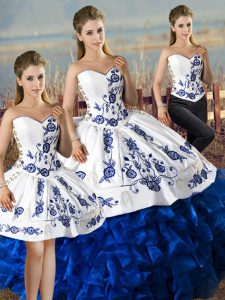 Blue And White Sweetheart Neckline Embroidery and Ruffles Ball Gown Prom Dress Sleeveless Lace Up