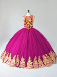 Scoop Sleeveless Lace Up Sweet 16 Quinceanera Dress Fuchsia Tulle