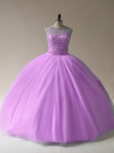 Lilac Scoop Lace Up Beading Vestidos de Quinceanera Sleeveless