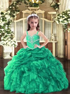Green Sleeveless Floor Length Beading and Ruffles Lace Up Little Girl Pageant Gowns