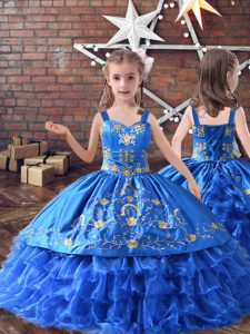 Royal Blue Satin and Organza Lace Up Child Pageant Dress Sleeveless Floor Length Embroidery and Ruffled Layers
