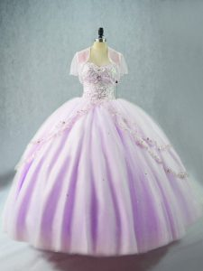 Clearance Lavender Sleeveless Floor Length Beading Lace Up Sweet 16 Quinceanera Dress