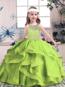 Sleeveless Beading and Ruffles Zipper High School Pageant Dress