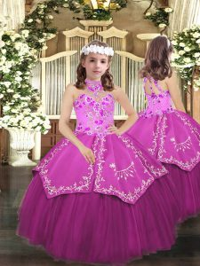 Halter Top Sleeveless Lace Up Child Pageant Dress Lilac Tulle