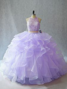 Clearance Halter Top Sleeveless Organza Sweet 16 Dress Beading and Ruffles Brush Train Backless