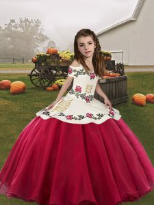 Elegant Floor Length Ball Gowns Sleeveless Coral Red Child Pageant Dress Lace Up