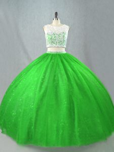 Two Pieces Ball Gown Prom Dress Green Scoop Tulle Sleeveless Floor Length Zipper