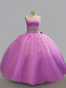 Most Popular Lilac Organza Lace Up Strapless Sleeveless Floor Length Ball Gown Prom Dress Beading