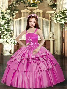 Glorious Straps Sleeveless Lace Up Pageant Gowns For Girls Lilac Taffeta