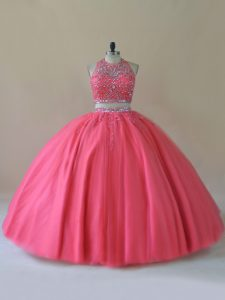 Latest Coral Red Backless Halter Top Beading Ball Gown Prom Dress Tulle Sleeveless