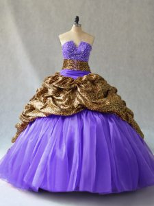 Cute Lavender V-neck Lace Up Beading and Pick Ups Sweet 16 Quinceanera Dress Brush Train Sleeveless