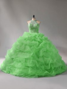 Beautiful Lace Up Halter Top Beading and Pick Ups Quinceanera Gowns Organza Sleeveless Court Train