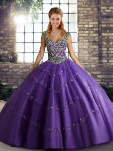 Straps Sleeveless Lace Up Sweet 16 Dress Purple Tulle