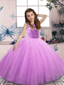 On Sale Lilac Sleeveless Beading Floor Length Pageant Gowns