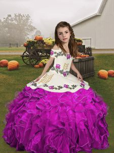 Fuchsia Sleeveless Floor Length Embroidery and Ruffles Lace Up Pageant Gowns For Girls