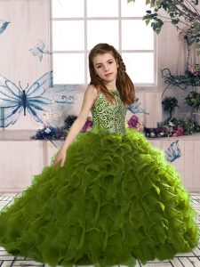 Olive Green Organza Lace Up Pageant Dress for Teens Sleeveless Floor Length Beading and Ruffles