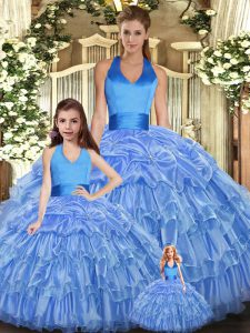 Excellent Baby Blue Sleeveless Floor Length Ruffles and Pick Ups Lace Up Sweet 16 Dresses