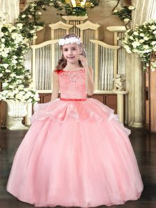 Scoop Sleeveless Zipper Little Girls Pageant Dress Wholesale Baby Pink Organza