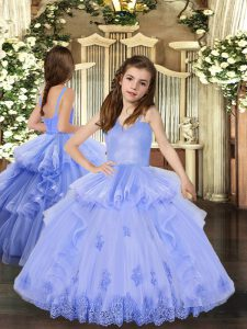 Latest Floor Length Lace Up Girls Pageant Dresses Lavender for Party and Sweet 16 and Wedding Party with Appliques