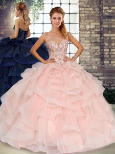 Customized Baby Pink Tulle Lace Up Quinceanera Gowns Sleeveless Floor Length Beading and Ruffles
