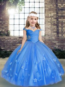 Excellent Blue Ball Gowns Straps Sleeveless Tulle Floor Length Lace Up Beading and Hand Made Flower Kids Formal Wear