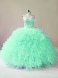 Apple Green Lace Up Sweetheart Beading and Ruffles Quinceanera Gown Tulle Sleeveless