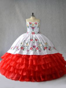 White And Red Ball Gowns Sweetheart Sleeveless Organza Floor Length Lace Up Embroidery and Ruffled Layers Quinceanera Dress