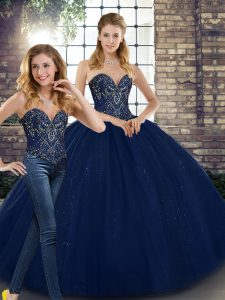 Floor Length Lace Up Quinceanera Dresses Navy Blue for Military Ball and Sweet 16 and Quinceanera with Beading