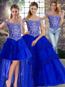 Royal Blue Off The Shoulder Neckline Beading and Lace 15th Birthday Dress Sleeveless Lace Up