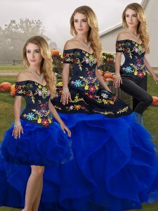 Attractive Floor Length Lace Up 15 Quinceanera Dress Royal Blue for Military Ball and Sweet 16 and Quinceanera with Embroidery and Ruffles