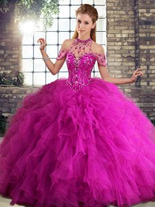 Custom Fit Fuchsia Halter Top Neckline Beading and Ruffles Sweet 16 Quinceanera Dress Sleeveless Lace Up
