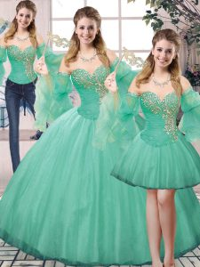 Floor Length Lace Up Sweet 16 Dresses Turquoise for Sweet 16 and Quinceanera with Beading