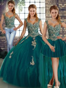 Sleeveless Floor Length Beading and Appliques Lace Up Sweet 16 Dress with Peacock Green