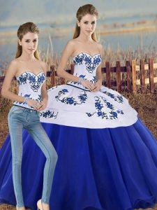 Royal Blue Sleeveless Embroidery and Bowknot Floor Length Ball Gown Prom Dress