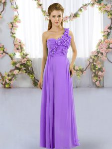 Shining Sleeveless Floor Length Hand Made Flower Lace Up Dama Dress with Lavender