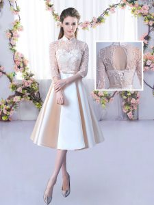 Romantic High-neck Half Sleeves Vestidos de Damas Tea Length Lace and Belt Champagne Satin