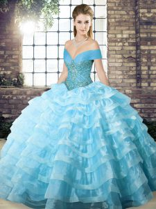 Discount Aqua Blue Sleeveless Brush Train Beading and Ruffled Layers Quince Ball Gowns