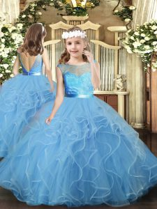 Trendy Floor Length Baby Blue Pageant Dresses Tulle Sleeveless Ruffles