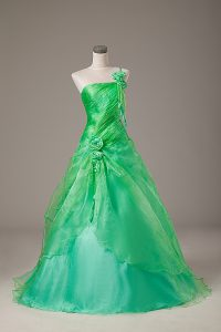 Hot Sale Green Ball Gowns Hand Made Flower 15th Birthday Dress Lace Up Organza Sleeveless Floor Length