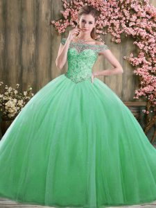 Floor Length Lace Up Sweet 16 Dress Green for Sweet 16 and Quinceanera with Beading