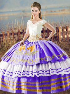 Affordable Embroidery and Ruffled Layers Sweet 16 Quinceanera Dress White And Purple Lace Up Sleeveless Floor Length