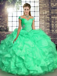 Beautiful Floor Length Lace Up 15th Birthday Dress Turquoise for Military Ball and Sweet 16 and Quinceanera with Beading and Ruffles