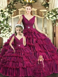 Floor Length Ball Gowns Sleeveless Burgundy Vestidos de Quinceanera Backless