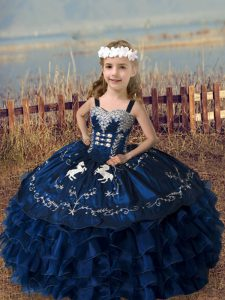 Excellent Navy Blue Ball Gowns Organza Straps Sleeveless Embroidery and Ruffled Layers Floor Length Lace Up Kids Pageant Dress