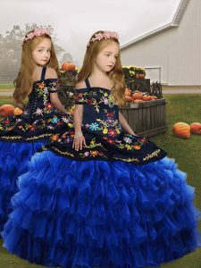 Organza Straps Sleeveless Lace Up Embroidery Little Girls Pageant Dress in Royal Blue
