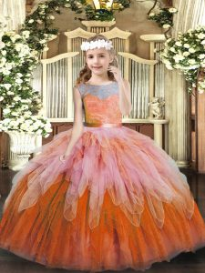 Lace and Ruffles Little Girls Pageant Dress Multi-color Lace Up Sleeveless Floor Length